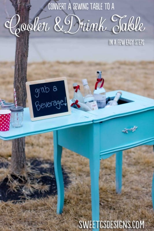 turn an old sewing table into a cooler