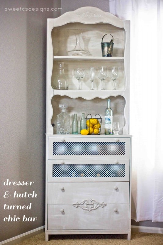 dresser and hutch turned chic bar- this is genious! Create a faux drawer for tall bottle storage, create faux antique detailing, and completely transform ugly items into a gorgeous piece @sweetcsdesigns.com !