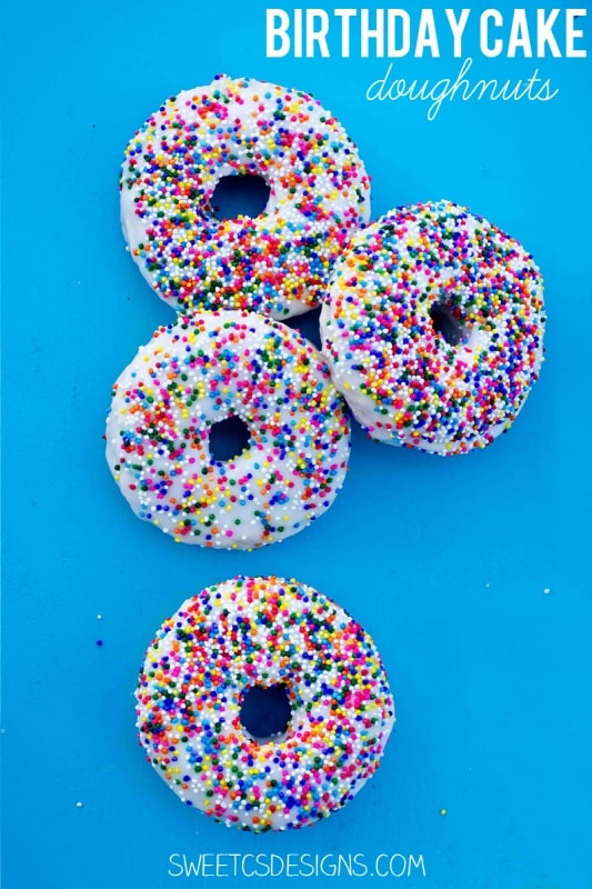 Forget the traditional birthday cake- make these delicious and super simple birthday cake doughnuts instead! Gluten free recipe, too!