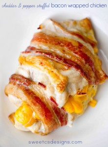 Cheddar and pepper stuffed bacon wrapped chicken #bacon #chicken #recipe
