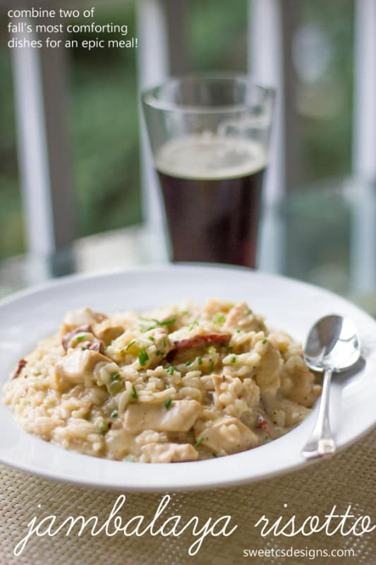 jambalaya risotto by sweetcsdesigns.com is a delicious, easy to make combination of two of falls most comforting dishes