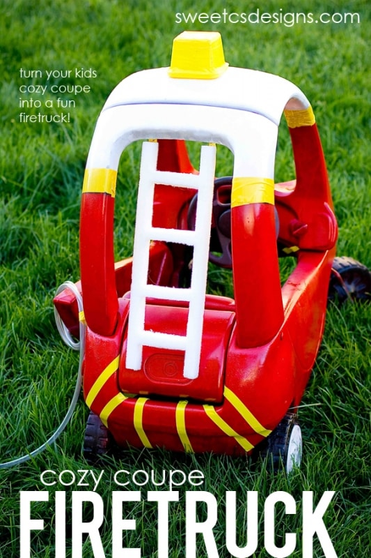 make a cozy coupe into a firetruck- perfect for halloween! #sp