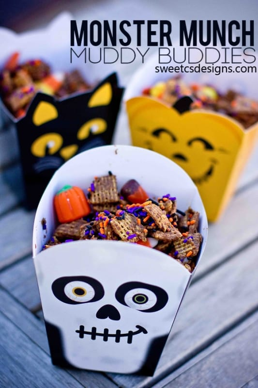 monster munch muddy buddies- super delicious!  #glutenfree #halloween #recipe #nutella!