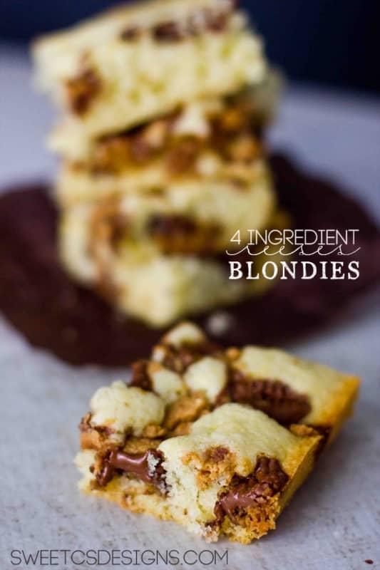 4 ingredient reeses blondies