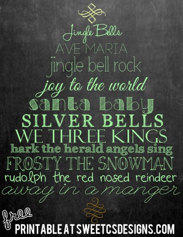 Christmas songs chalk printable at sweetcsdesigns