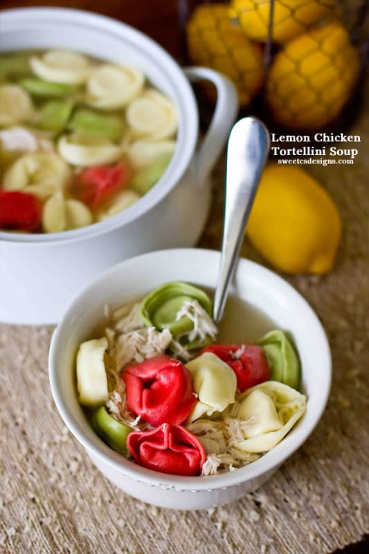 Lemon Chicken Tortellini Soup- easy, quick and only takes 4 ingredients!