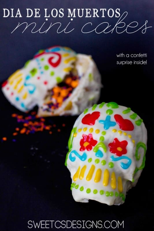 Pinata Dia De Los Muertos Cakes- these are actually really easy to make, and have sprinkles and candy in the middle when you break it open!