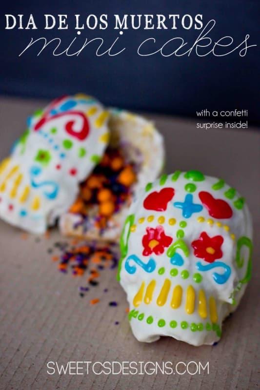 di de los muertos confetti cakes