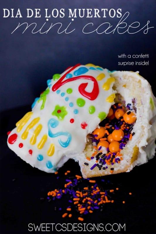 di de los muertos surprise confetti cakes- these are SO cute!