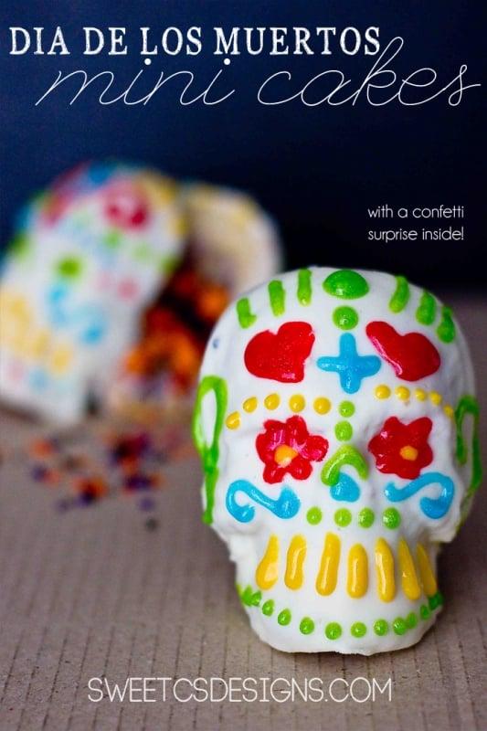 dia di los muertos mini cakes with sprinkle surprise inside!