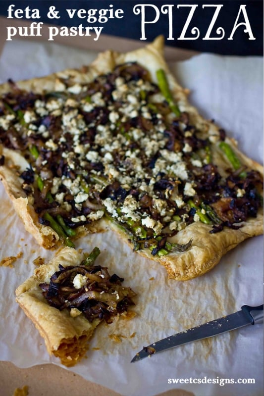 feta and veggie puff pastry pizza- this is so easy and delicious!