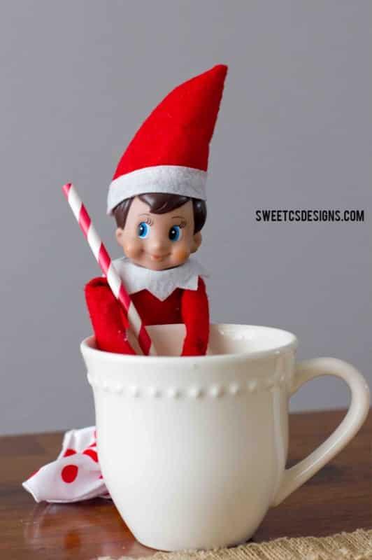 Elf on a shelf having a sip break