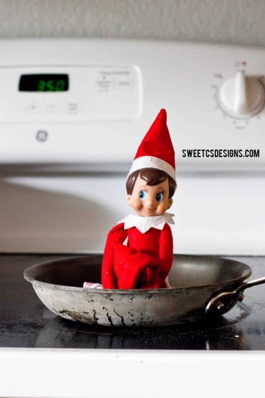 Fried Elf on a shelf kitchen idea