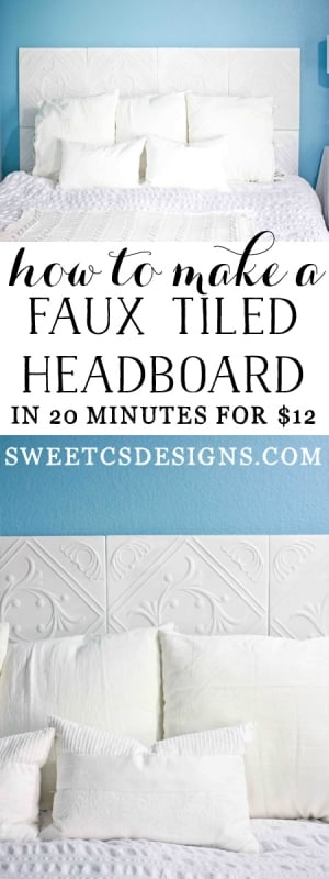 How to make a faux tiled headboard- this is awesome! Only $12 and perfect for people who move a lot!