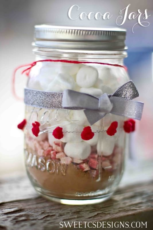 Red & White Cocoa Jars- perfect gift for Christmas or Valentines!