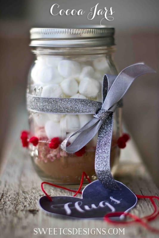 cocoa jars- these are so easy to make and are perfect for christmas or valentines!