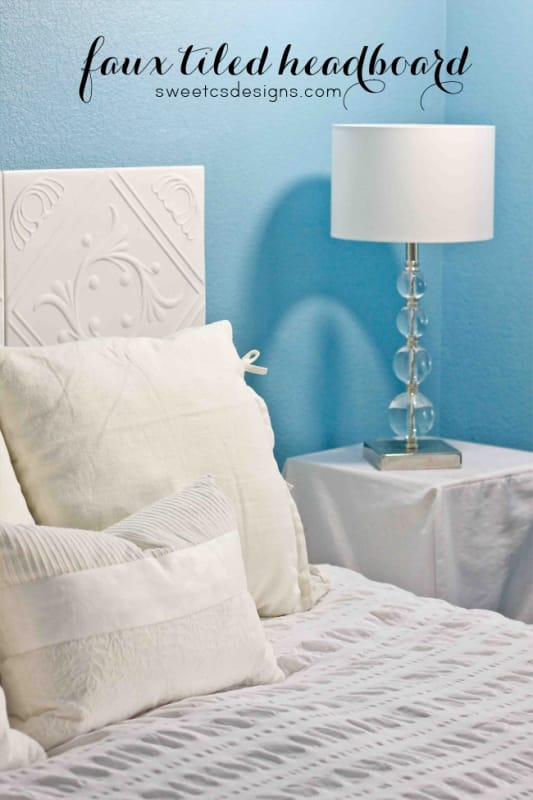 make a faux tiled headboard- perfect for people who move a lot or on a budget! This only cost $12!