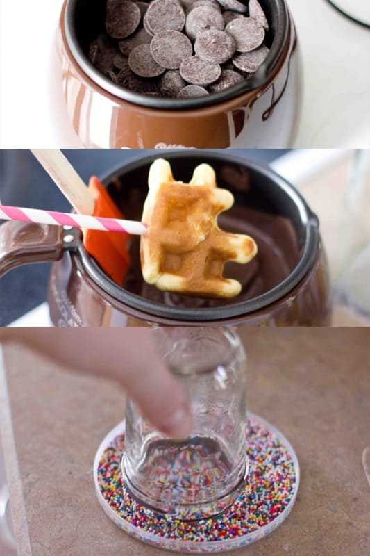 3 easy steps to chocolate waffles or milk jars- just dip and sprinkle!
