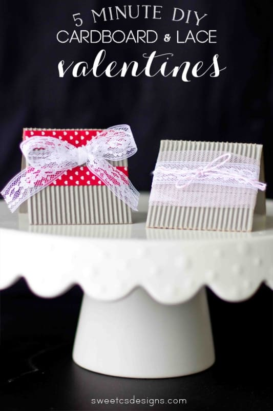 DIY cardboard and lace valentines- these are so cute and take just a few minutes to make!
