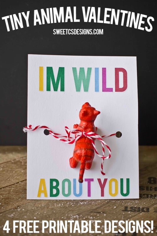 I'm wild about you wild animal printable- this is so cute! Just print and add toy for a non candy valentine!