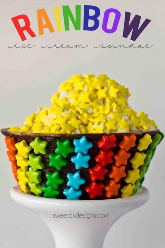 Make a rainbow ice cream sundae for the Olympics or St Patricks Day!