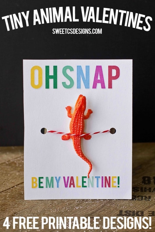 Oh Snap crocodile toy valentine printable- just add a toy!