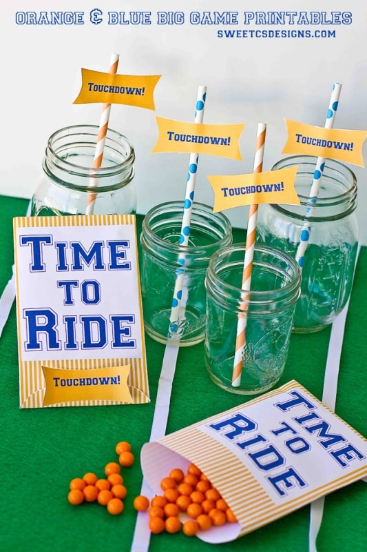 Orange and Blue treat bags & drink tags- so you can cheer Denver on in the big game!