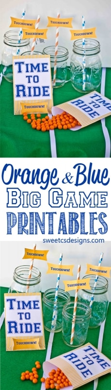 Orange and blue big game printables- so you can cheer Denver on in the big game!