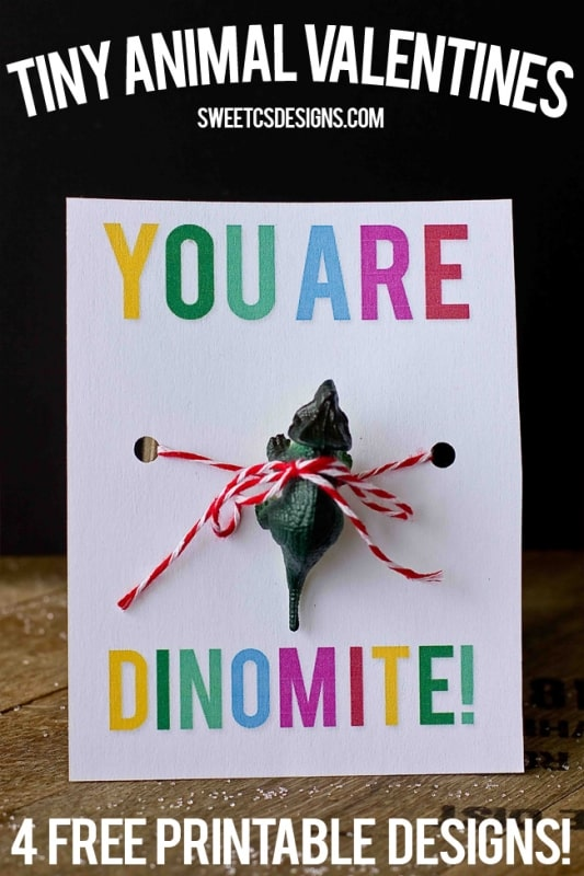 you are dinomite tiny animal valentine- this is such a cute and easy non candy idea! just print and add toy printable!